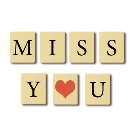blue you: Simple text written on chip I miss you, valentines concept. Stock Photo