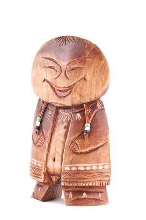 shamanism: Old peliken made from wood, national kamchatka amulet.