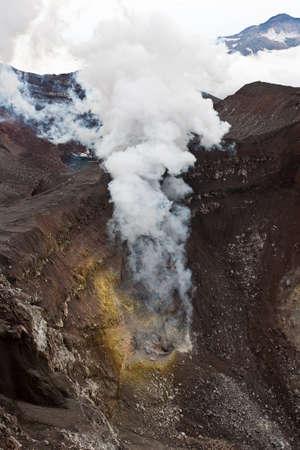 Active volcano Goreliy on Kamchatka, Russia