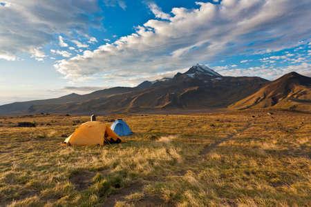 kamchatka: Camping tents on Kamchatka valley, Russia. Stock Photo