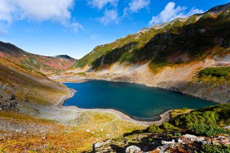 kamchatka: Paesaggio di Vulcano con lago in Kamchatka, Russia.