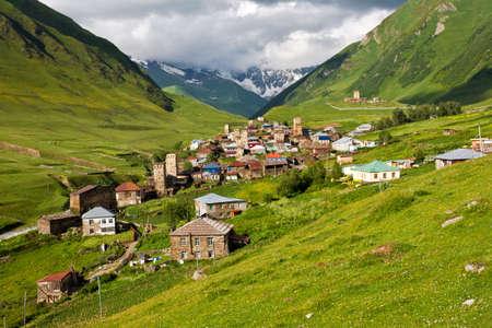 ushguli: High mountain village Ushguli in Georgia. Stock Photo