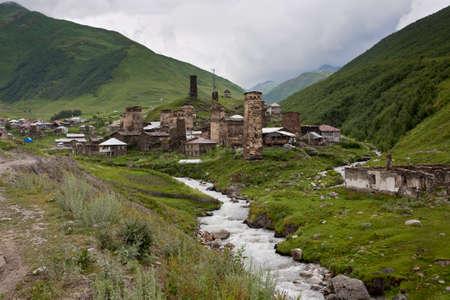 ushguli: Old city Ushguli high in mountains, Georgia. Stock Photo