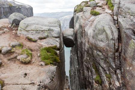 Wonder of Nature. Hanging Stone Kjeragbolten in Rogaland, Norway.