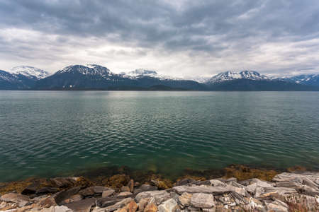 Norway landscape with fjord and deep blue sky. Stock Photo