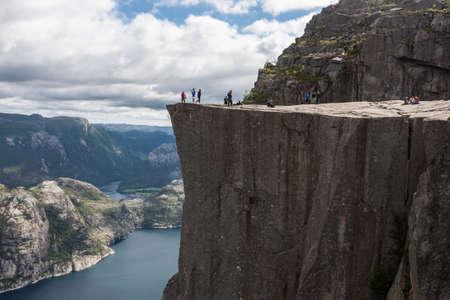 Preikestolen,Pulpit Rock at Lysefjorden (Norway). A well known tourist attraction photo