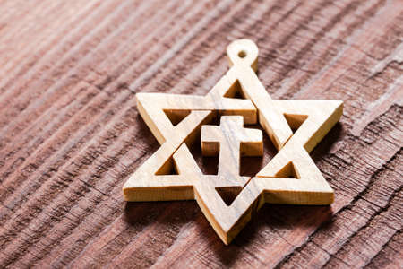 zionism: Macro view star of david, jewish symbol.