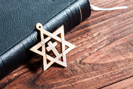 zionism: Jewish symbol star of david, on wooden .