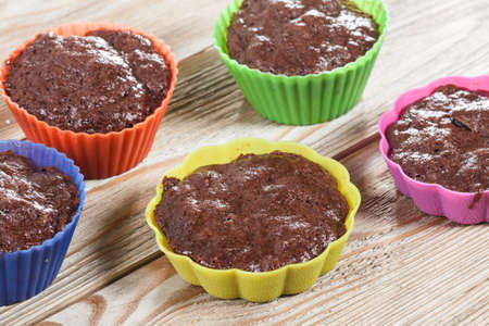 chocolate cakes: Chocolate cakes on Wood Table Background,