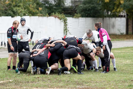 national championship: ANTARES - VERES, UKRAINE, KIEV- OCTOBER 16 : Rugby players in action at Ukrainian National Championship rugby match, Antares(in white) vs. Veres(in black), October 16, 2016 in Kiev, Ukraine.