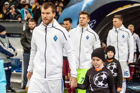 Kyiv, Ukraine - December 6, 2016: Andriy Yarmolenko enters the match UEFA Champions League game against FC Besiktas at NSC Olympic stadium in Kyiv, Ukraine.