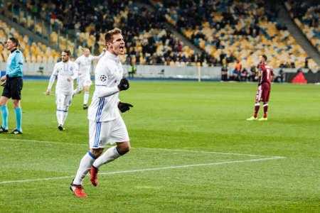 Kyiv, Ukraine - December 6, 2016: Artem Besedin celebrates scoring a goal, during match UEFA Champions League game Dynamo Kyiv against Besiktas at NSC Olympic stadium in Kyiv, Ukraine.