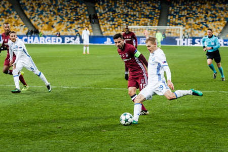 Kyiv, Ukraine - December 6, 2016: Vitaliy Buyalskiy shoots a ball, during match UEFA Champions League game Dynamo Kyiv against Besiktas at NSC Olympic stadium in Kyiv, Ukraine. Editorial