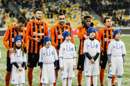 Kiev, Ukraine - December 12, 2016: Shakhtar Donetsk players before the start game against FC Dynamo Kyiv during Ukrainian Premier League match at NSC Olimpiyskiy stadium.