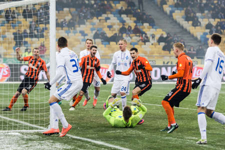 premier: Kiev, Ukraine - December 12, 2016: The players of FC Shakhtar Donetsk and FC Dynamo Kyiv during the match of Ukrainian Premier League.