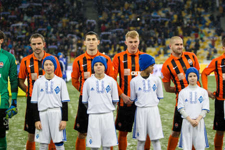 olimpiyskiy: Kiev, Ukraine - December 12, 2016: Shakhtar Donetsk players before the start game against FC Dynamo Kyiv during Ukrainian Premier League match at NSC Olimpiyskiy stadium.