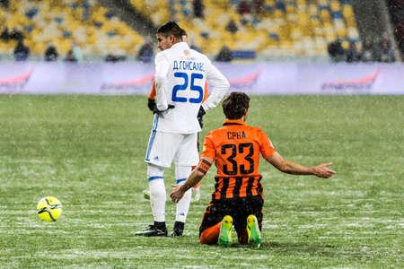 olimpiyskiy: Kiev, Ukraine - December 12, 2016: Dario Srna of Shakhtar Donetsk appeal to the referee  during Ukrainian Premier League match against FC Dynamo Kyiv at NSC Olimpiyskiy stadium.