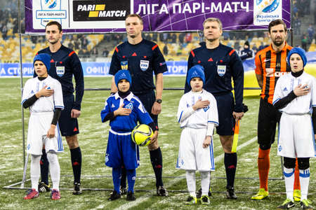 olimpiyskiy: Kiev, Ukraine - December 12, 2016: The Chief Referees before the start of Ukrainian Premier League match FC Dynamo Kyiv against FC Shakhtar Donetsk at NSC Olimpiyskiy stadium.