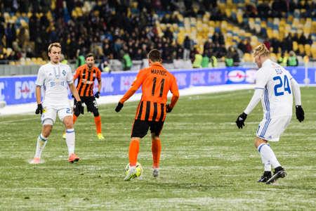 olimpiyskiy: Kiev, Ukraine - December 12, 2016: Marlos of Shakhtar Donetsk controls the ball during Ukrainian Premier League match against FC Dynamo Kyiv at NSC Olimpiyskiy stadium. Editorial