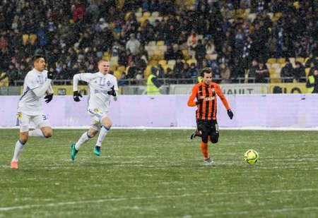 olimpiyskiy: Kiev, Ukraine - December 12, 2016: Bernard of Shakhtar Donetsk in action during Ukrainian Premier League match against FC Dynamo Kyiv at NSC Olimpiyskiy stadium.