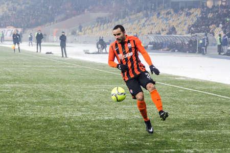 olimpiyskiy: Kiev, Ukraine - December 12, 2016: Ismaili of Shakhtar Donetsk controls the ball during Ukrainian Premier League match against FC Dynamo Kyiv at NSC Olimpiyskiy stadium.