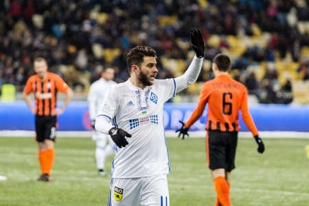 premier: Kiev, Ukraine - December 12, 2016: Junior Moraes of Dynamo Kyiv appeal to the referee during Ukrainian Premier League match against FC Shakhtar Donetsk at NSC Olimpiyskiy stadium. Editorial