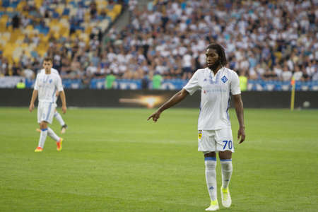 Kyiv, Ukraine - July 26, 2017: Dieumerci Mbokani of Dynamo Kyiv in action against FC Young Boys during UEFA Champions League game at NSC Olimpiyskiy stadium. Editorial