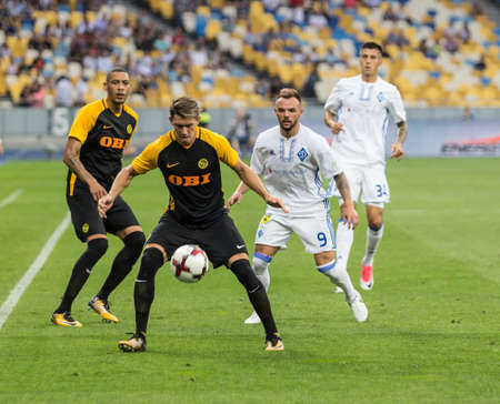 Kyiv, Ukraine - July 26, 2017: Christian Fassnacht of FC Young Boys in action against FC Dynamo Kyiv during UEFA Champions League game at NSC Olimpiyskiy stadium. Editorial