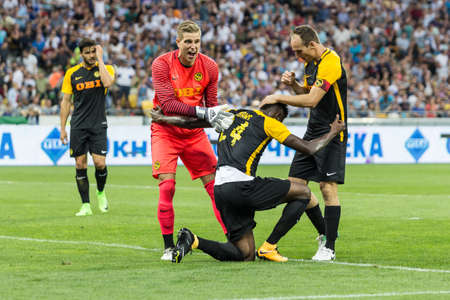 Kyiv, Ukraine - July 26, 2017: Players of FC Young Boys in action against FC Dynamo Kyiv during UEFA Champions League game at NSC Olimpiyskiy stadium.