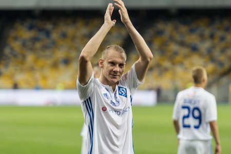 Kyiv, Ukraine - July 26, 2017: Domagoj Vida of Dynamo Kyiv applauds to fans after match with FC Young Boys, UEFA Champions League game at NSC Olimpiyskiy stadium. Imagens - 83198912