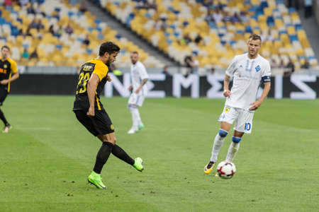 Kyiv, Ukraine - July 26, 2017: Loris Benito of FC Young Boys in action against FC Dynamo Kyiv during UEFA Champions League game at NSC Olimpiyskiy stadium. Editorial
