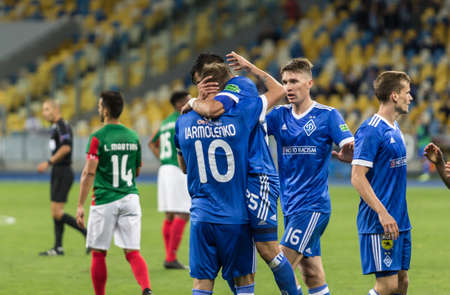 Kyiv, Ukraine - August 24, 2017: FC Dynamo Kyiv players react after score a goal during UEFA Europa League match against Maritimo at NSC Olympic stadium in Kyiv, Ukraine.