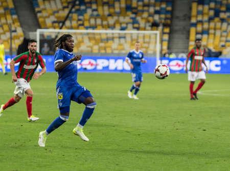Kyiv, Ukraine - August 24, 2017: Dieumerci Mbokani of Dynamo Kyiv in action against Maritimo during UEFA Europa League match at NSC Olimpiyskiy stadium.