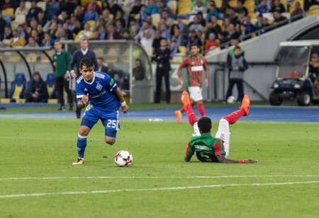 Kyiv, Ukraine - August 24, 2017: Derlis Gonzales of Dynamo Kyiv in action against Maritimo during UEFA Europa League match at NSC Olimpiyskiy stadium.