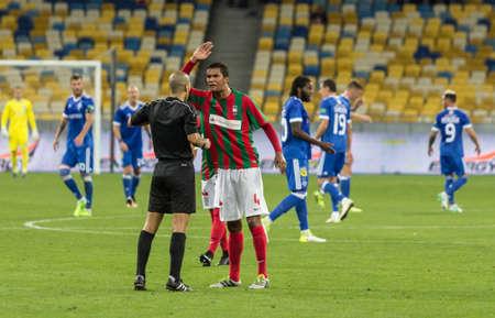 Kyiv, Ukraine - August 24, 2017: Pablo Santos of Maritimo in action against Dynamo Kyiv during UEFA Europa League match at NSC Olimpiyskiy stadium.