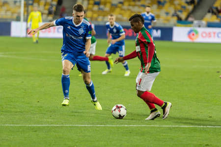 Kyiv, Ukraine - August 24, 2017: Sergiy Sydorchuk in action against Eber Bessa of Maritimo during UEFA Europa League match at NSC Olimpiyskiy stadium.