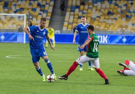Kyiv, Ukraine - August 24, 2017: Andriy Yarmolenko in action against Luis Martins of Maritimo during UEFA Europa League match at NSC Olimpiyskiy stadium.