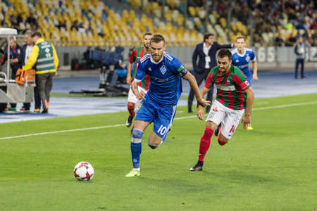 Kyiv, Ukraine - August 24, 2017: Andriy Yarmolenko of Dynamo Kyiv in action against Maritimo during UEFA Europa League match at NSC Olimpiyskiy stadium. Redakční