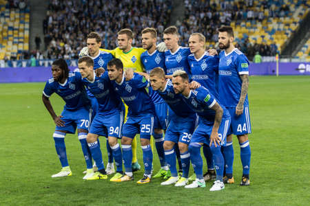 Kyiv, Ukraine - August 24, 2017: Dynamo Kyiv players before the start game against Maritimo during UEFA Europa League match at NSC Olimpiyskiy stadium.