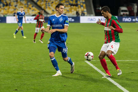 Kyiv, Ukraine - August 24, 2017: Denys Garmash of Dynamo Kyiv in action against Pablo Santos of Maritimo during UEFA Europa League match at NSC Olimpiyskiy stadium. Editorial