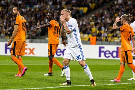 Kyiv, Ukraine - September 14, 2017: Domagoj Vida of Dynamo Kyiv in action against players of Skenderbeu during UEFA Europa League match at NSC Olimpiyskiy stadium. Editorial