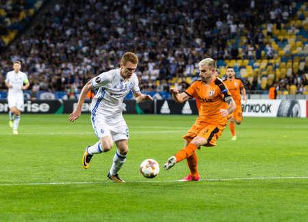Kyiv, Ukraine - September 14, 2017: Viktor Tsygankov of Dynamo Kyiv in action against Gledi Mici of Skenderbeu during UEFA Europa League match at NSC Olimpiyskiy stadium.