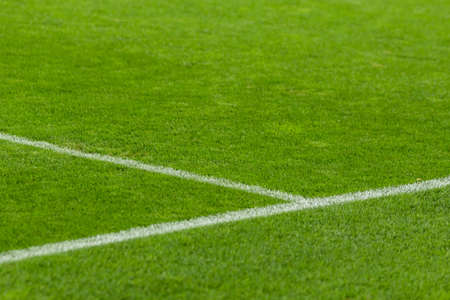 Football field fragment close up white lines Stock Photo