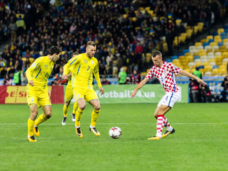 Kyiv, Ukraine - October 9, 2017: Ivan Perisic in action against Andriy Yarmolenko. FIFA World Cup 2018 Qualifying round Ukraine - Croatia.