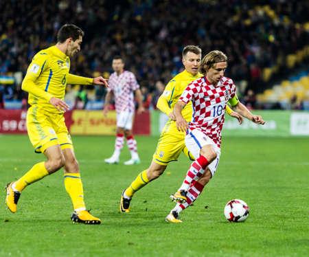 Kyiv, Ukraine - October 9, 2017: Luka Modric controls the ball during match. FIFA World Cup 2018 Qualifying round Ukraine - Croatia. Editorial