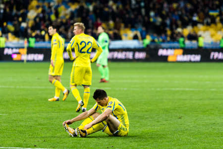 Kyiv, Ukraine - October 9, 2017: Yevhen Konoplyanka upset of a lost match. FIFA World Cup 2018 Qualifying round Ukraine - Croatia. Editorial