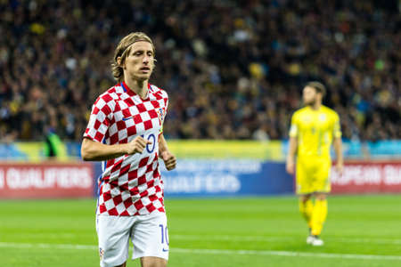 olympic sports: Kyiv, Ukraine - October 9, 2017: Luka Modric portrait during match. FIFA World Cup 2018 Qualifying round Ukraine - Croatia.