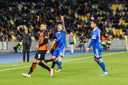Kyiv, Ukraine - October 22, 2017: Players of Dynamo Kyiv and Shakhtar Donetsk appeal to the referee. Ukrainian Premier League match Dynamo Kyiv – Shakhtar Donetsk at NSC Olimpiyskiy stadium. Editorial