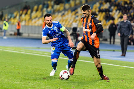 Kyiv, Ukraine - October 22, 2017: Facundo Ferreyra in action against Mykola Morozyuk. Ukrainian Premier League match Dynamo Kyiv – Shakhtar Donetsk at NSC Olimpiyskiy stadium. Redakční