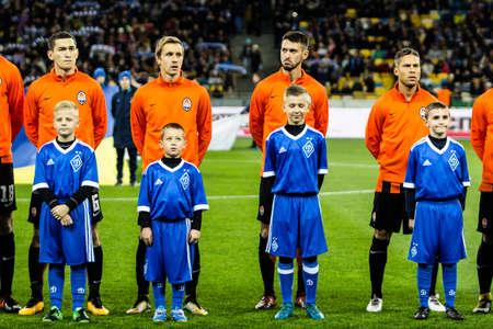 Kyiv, Ukraine - October 22, 2017: Players of Shakhtar Donetsk before the start of the match. Ukrainian Premier League match Dynamo Kyiv – Shakhtar Donetsk at NSC Olimpiyskiy stadium.
